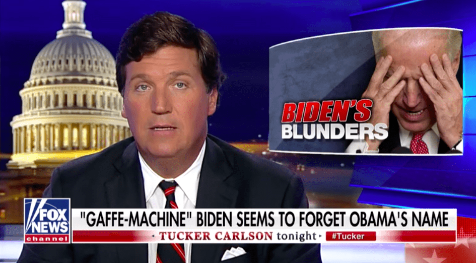 "Joe Biden is just a gaffe machine, and he don't work for nobody but you. Check out Mark Styen's take on Fox News' ""Tucker Carlson Tonight"""